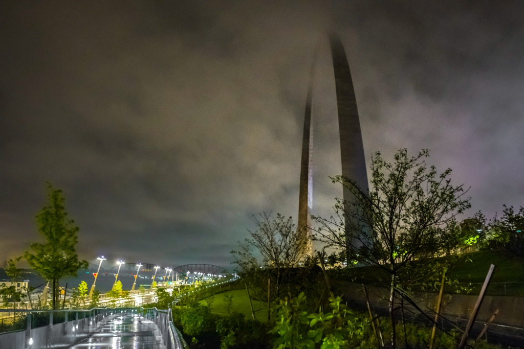 St. Louis Arch on a stormy day.